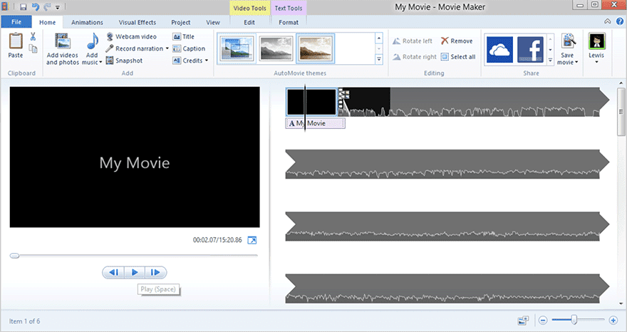 Windows Movie Maker programa vídeo
