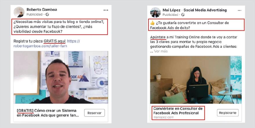 Ejemplos anuncios facebook ads