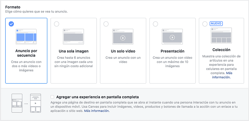 Formatos anuncios facebook ads