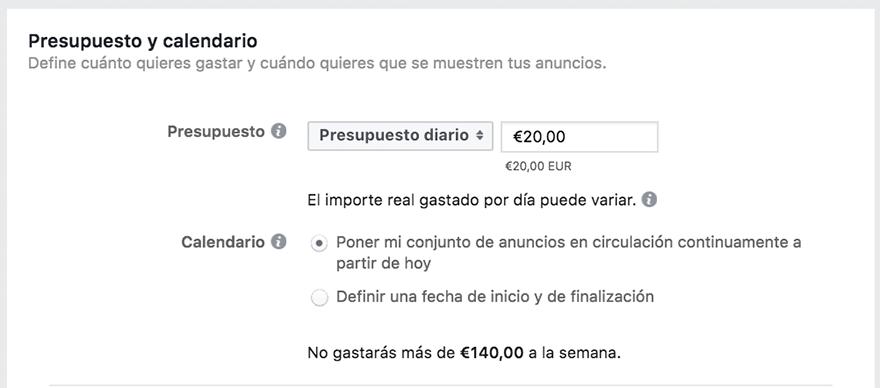 Presupuesto anuncios facebook ads