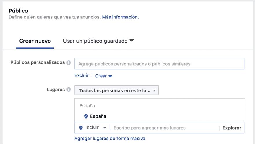 Crear público anuncios facebook ads