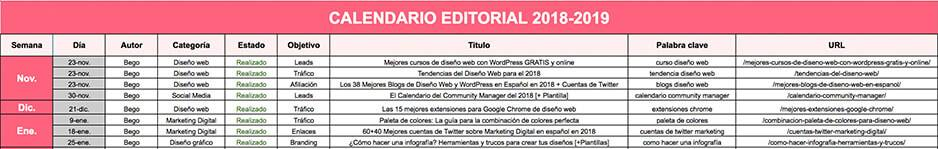 calendario editorial marketing online