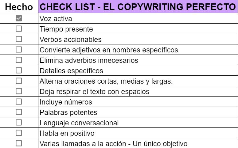 ejemplos de lead magnet - checklist