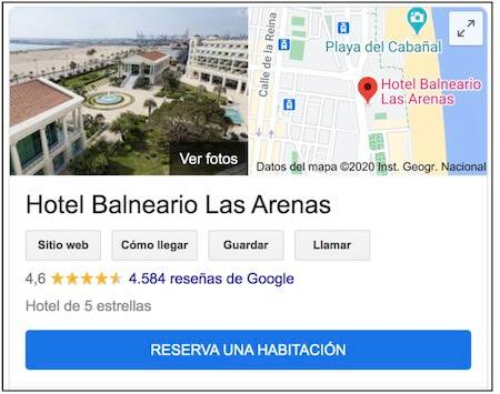 google my business ejemplo hotel