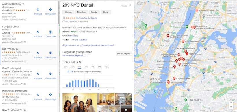 reseñas google marketing dental