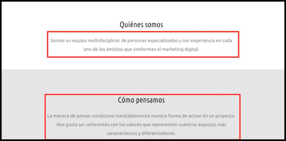 texto diseño web